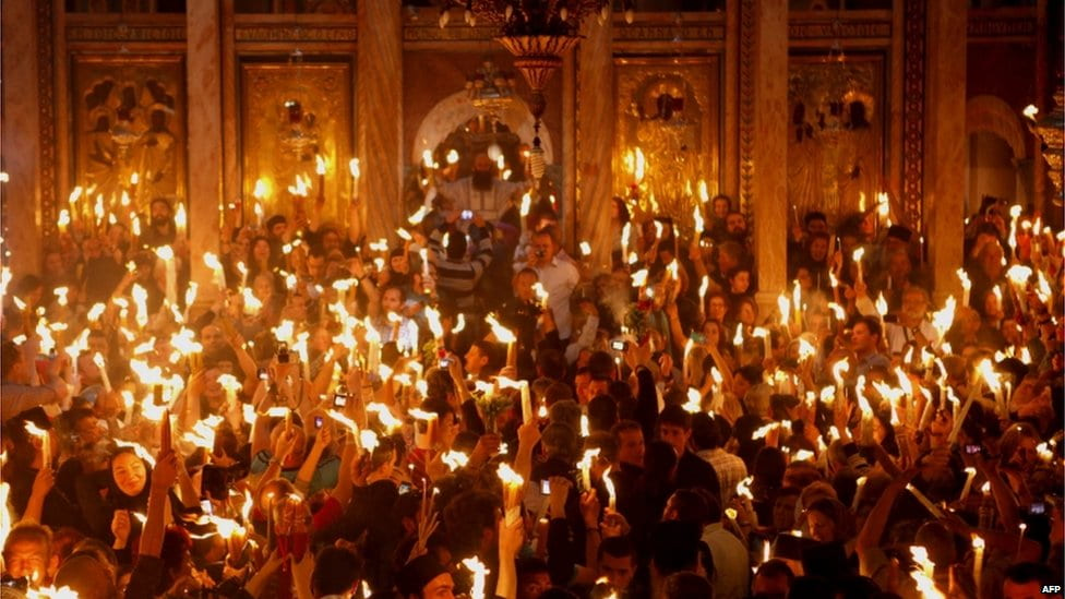 candles in church Greek Orthodox Easter in Crete